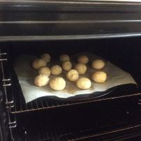 Put them in a tray and then into the oven pre-heated at 180 degrees.